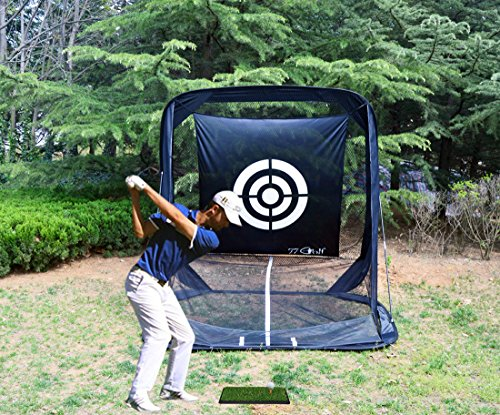 77tech Golf Practice Hitting Net Cage Automatic Ball Return System Tri-ball Golf Driving Chipping Net Training Aid with Target sheet and Two Side Barrier by Golf Net