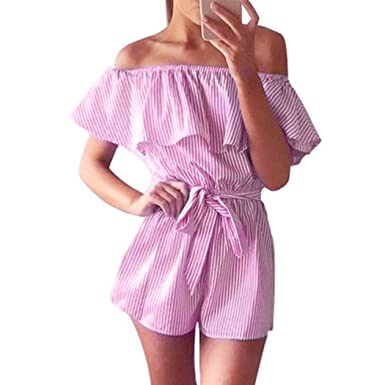 80394b11c98 Women s Summer Striped off Shoulder Ruffle Short Sleeve Tie Waist Romper  Jumpsuit (Small