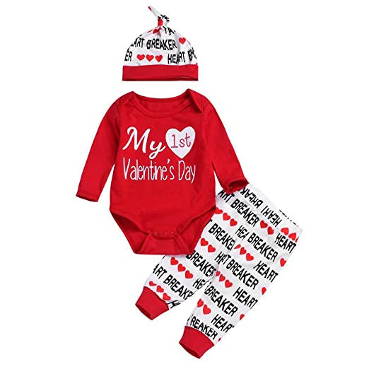 5298b9329272 Amazon.com: Newborn Baby Valentine's Outfits Set, Little Girl Long Sleeve  Letter Printed Romper Pants Hat Set Clothing (Age: 0-6 Months, Red):  Clothing