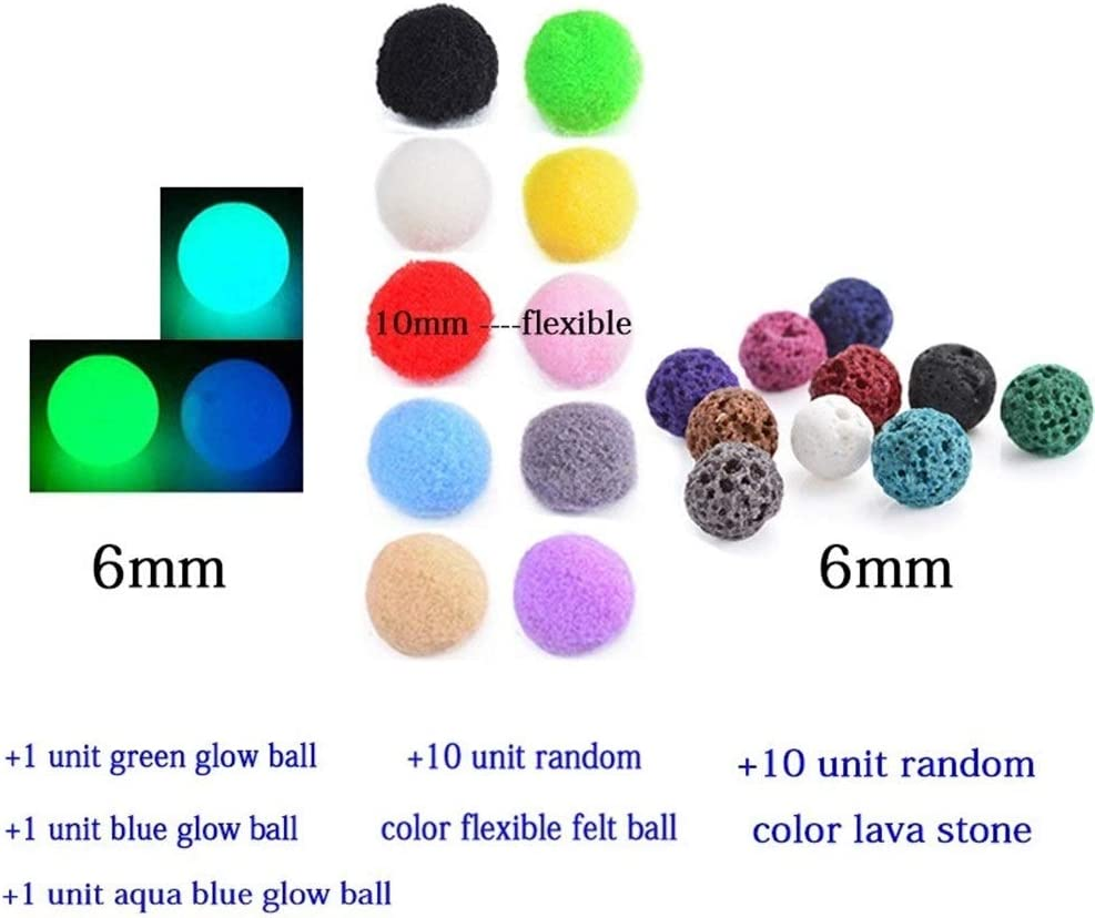 Pendientes Diversificada de Fieltro Glow Bolas de Piedra de la Lava Antiguo Collares Locket del Perfume de la Vendimia Aceite Esencial difusor Collar (Color : 60cm, Size : 6mm Ball Set)