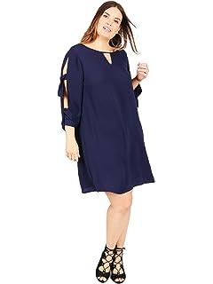 0c24ca662229f Lovedrobe Koko Women s Navy Blue Tie Sleeve Shift Dress Ladies Plus Size  16-30