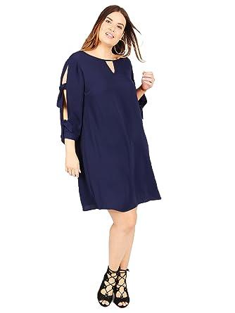 12bad939989 Lovedrobe Koko Women s Navy Blue Tie Sleeve Shift Dress Ladies Plus Size  16-28 (