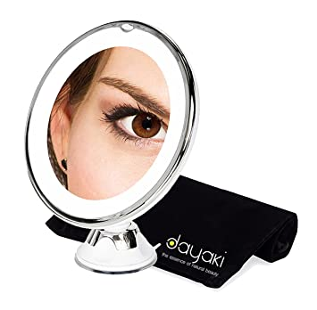 Lighted Makeup Mirror With Magnification.Magnifying Travel Lighted Makeup Mirror 10 X Magnification For Flawless Make Up Application And Tweezing Eyebrows Compact Led Vanity Mirror
