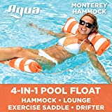 Aqua Monterey 4-in-1 Multi-Purpose Inflatable Hammock (Saddle, Lounge Chair, Hammock, Drifter) Portable Pool Float, Orange/White Stripe