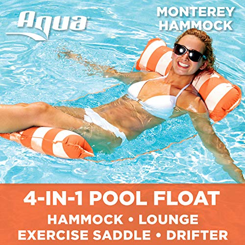 - Aqua Monterey 4-in-1 Multi-Purpose Inflatable Hammock (Saddle, Lounge Chair, Hammock, Drifter) Portable Pool Float, Orange/White Stripe