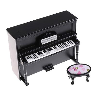 BBsmile Hogar Modelo de báscula de Madera para Piano Vertical en Color Negro para 1/12 Dollhouse Miniatura de Juguete (Negro): Juguetes y juegos