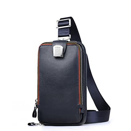 1eccfe61fe0a Image Unavailable. Image not available for. Color  Lanica Mens Genuine  Leather Crossbody Chest Sling Backpack Body Shoulder ...