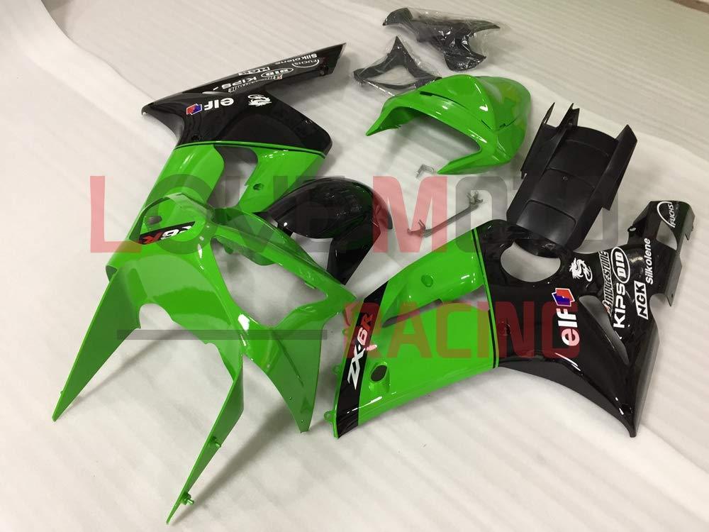 LoveMoto Verkleidung f/ür ZX6R ZX-6R Ninja 636 2003 2004 03 04 ZX 6R Ninja ABS Spritzguss Kunststoff-Motorradverkleidung-Sets Gr/ün Schwarz