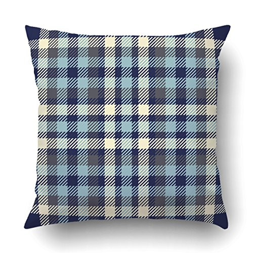 Emvency Decorative Throw Pillow Cover Case for Bedroom Couch Sofa Home Decor tartan plaid Traditional checkered navy and pale blue gray and pale yellow Square 20x20 Inches Plaid