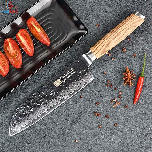 - Best Quality - Kitchen Knives - 2017 New Zebra wood handle damascus knife 7 inch santoku chef knife 67 layers damascus steel kitchen knives - by HURA - 1 PCs