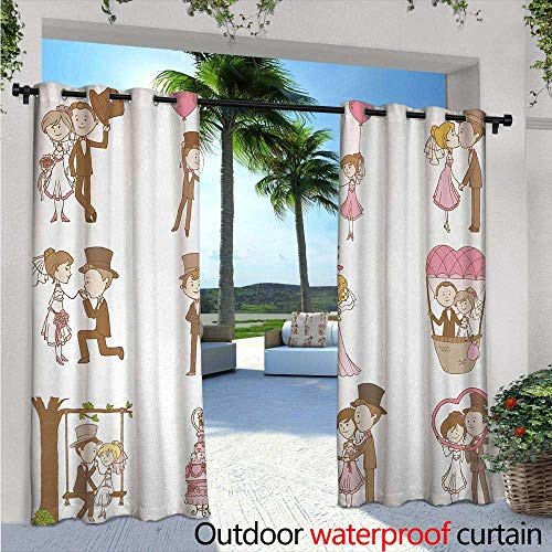Wedding Exterior/Outside Curtains W72 x L84 Wedding Doodle Set Bride and Groom Romantic Retro Style Work of Art Print for Patio Light Block Heat Out Water Proof Drape Brown Pink ()