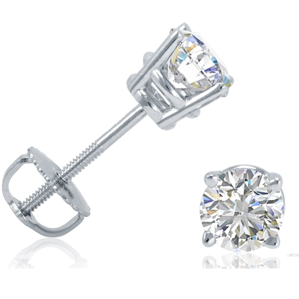 AGS Certified 3/4ct TW Round Diamond Solitaire Stud Earrings in 14K White Gold with Screw Backs by Amanda Rose Collection