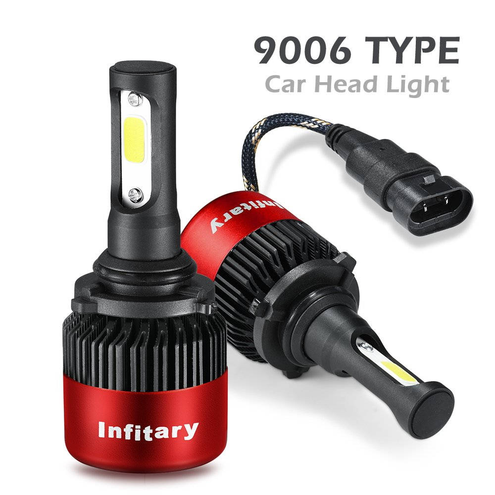 ALUNAR H4/H7 LED Headlight Bulbs Hi/Lo Beam 12V Auto Headlamp Dual Beam Head Light Hi/Lo 72W 6500K 8000LM Extremely Super Bright COB Chips Infitary Replacement Lights All-in-one Conversion Kit for Car 1 Pair (Red 9006/HB4 2 PCS) Alunar Direct