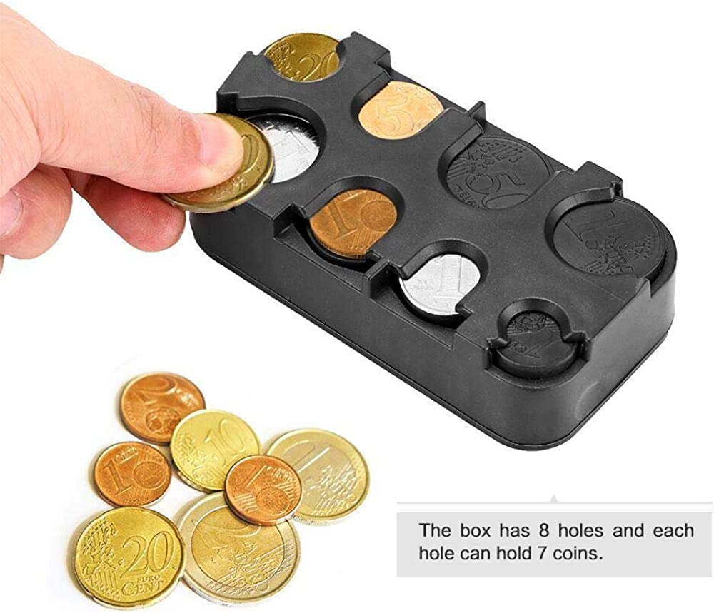 Amazon.com: Accreate Car-Styling Auto Coin Holder Storage Money Box Car  Dollar/Euro Coin Case Plastic Money Container: Clothing