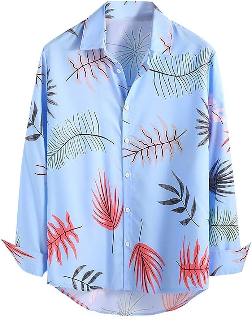CAOQAO Hombre Camisas Manga Larga Flores Multicolor étnica Blusa cómoda de Gran tamaño: Amazon.es: Ropa y accesorios