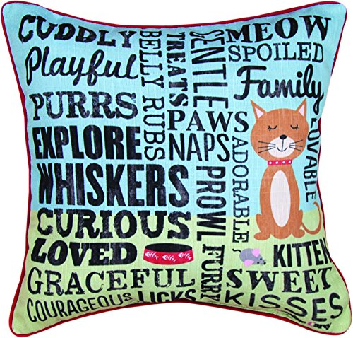 MWW Manual Throw Pillow, I Love My Cat, 18