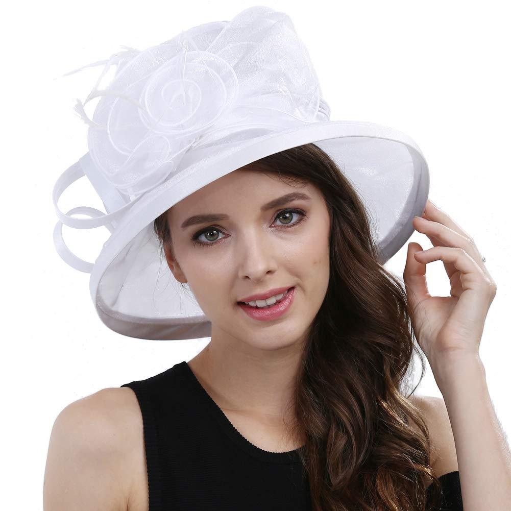 Original One Women's Kentucky Derby Tea Part Dress Church Fascinators Fancy Hats (White) M by Original One (Image #2)