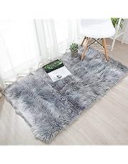 HY fluffy lambskin carpet, faux fur, sheepskin, faux sheepskin carpet deco, fur look, wool, bed mat, sofa mat for living room, bedroom, children's room, dining room., grey, 60 x 90 cm