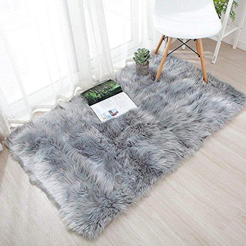 Soft Faux Sheepskin Fur Chair Couch Cover Area Rug,Children Play Carpet Fur Bedroom Floor Sofa Living Room 2 x 3 Feet (Grey)