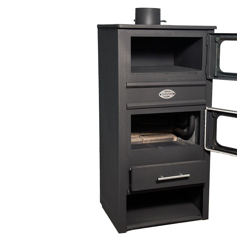 Caldera de leña estufas con horno zvezda, Modelo MF VR 9, salida de calor 14 kW
