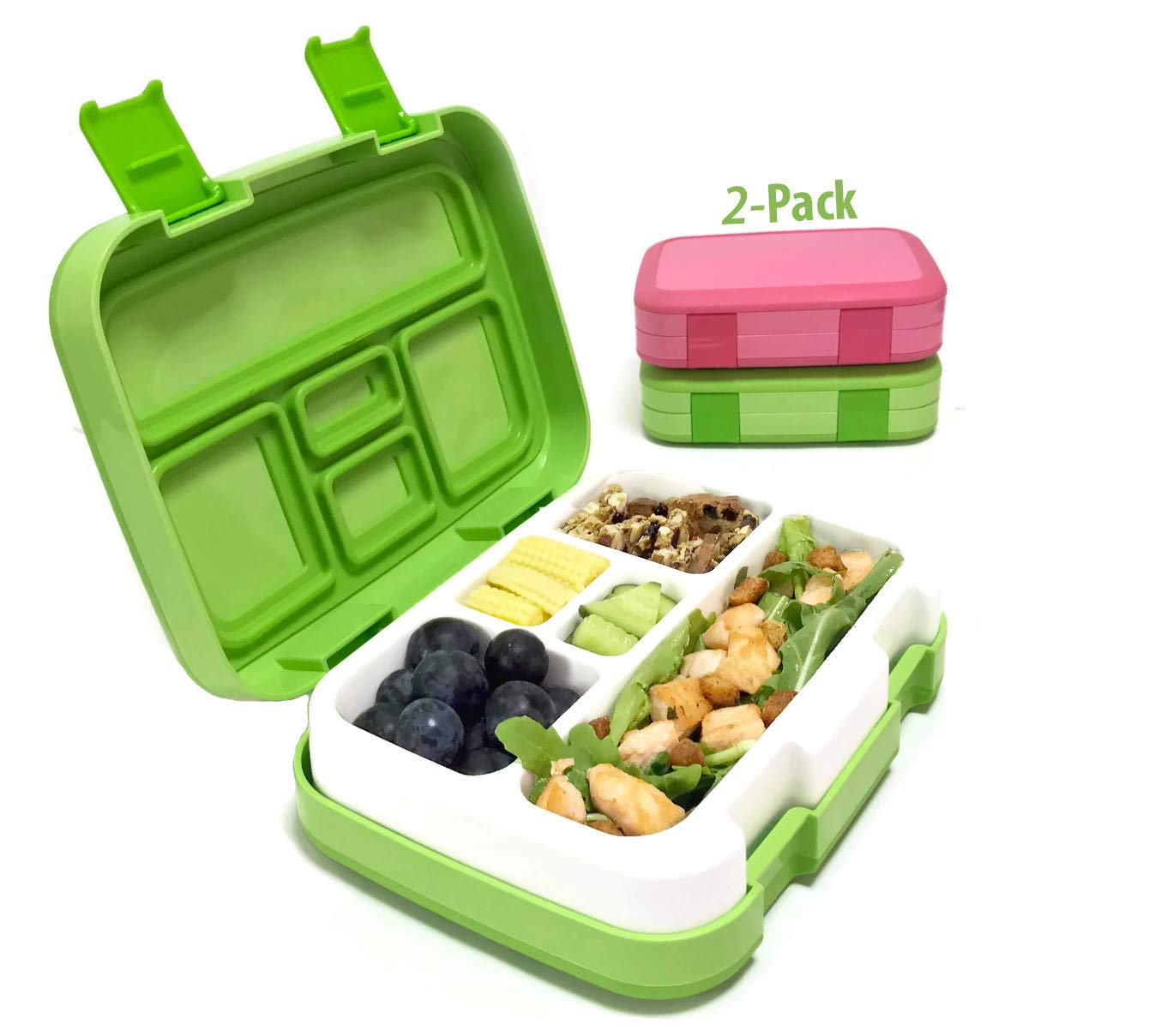 cd8f832d90f0 PlusPoint Bento Lunch Box for Kids and Adults, 2 Leakproof Food & Meal Prep  Containers with 5 Compartments + Full Cutlery Set Perfect for Healthy ...