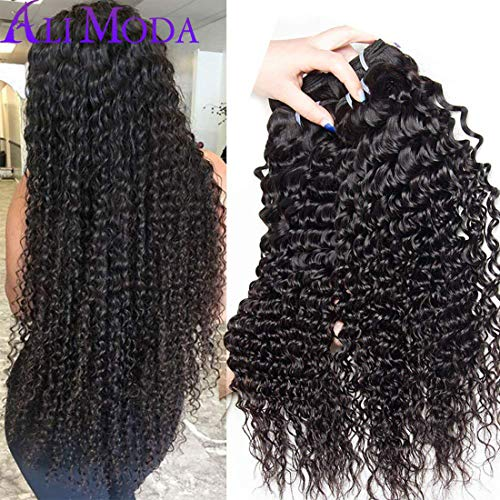 (Malaysian Deep Wave Curly Virgin hair 3 Bundles Wet and Wavy 100% Unprocessed Human Hair Weave Weft Extensions 95-105g/pc Natural Black Color 14 16 18inch)