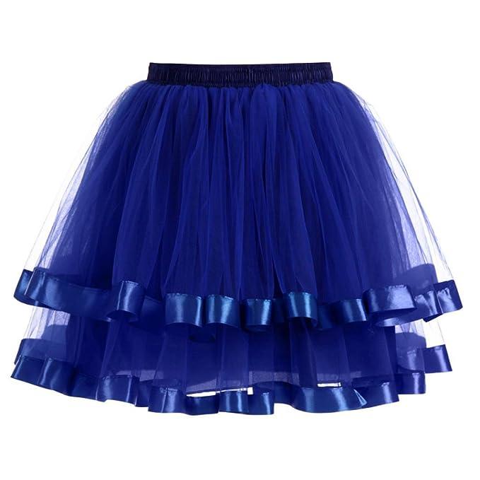KEERADS Rock Damen Kurz Rockabilly Kleid Petticoat Kleider Fasching Elegant  (One Size, Blau): Amazon.de: Bekleidung