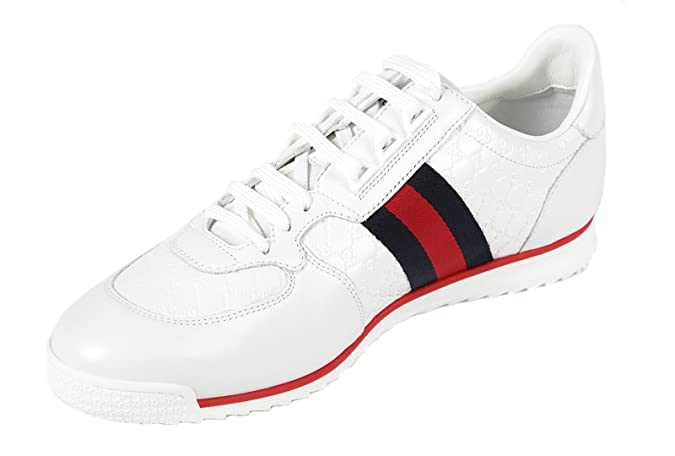 7b6036513 Gucci men's shoes leather trainers sneakers micro gg white UK size 10.5  233334 A9LA0 9051: Amazon.co.uk: Shoes & Bags