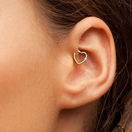Open Heart Ear Cuff 18g Heart Cartilage Earring Tragus Rook Daith Snug Love Heart Ring Silver Heart Hoop Forward Helix Silver heart