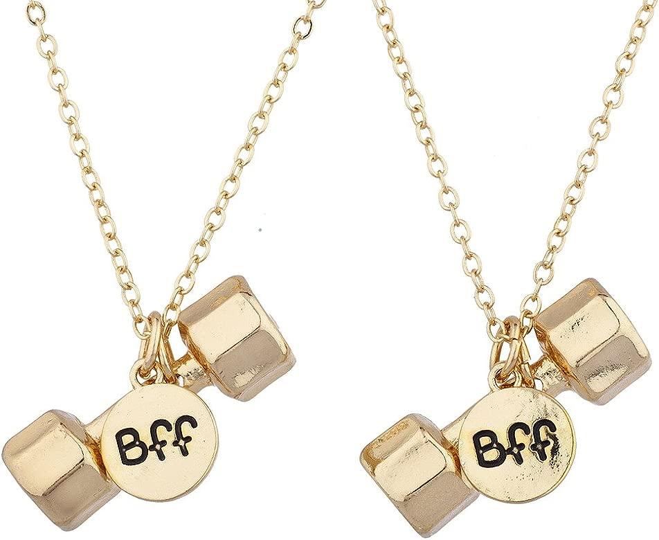 Lux Accessories - Collar con mancuernas de tono dorado para ...