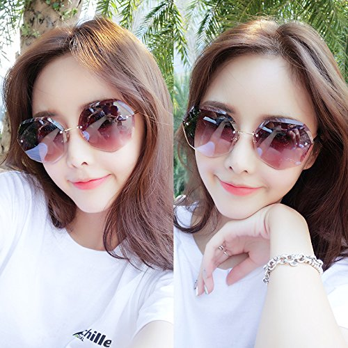 con Gafas sol Ladies Gafas Harajuku el Wave 2018 New párrafo Retro Korean mismo Cara The Red Style Sunglasses redonda de HL wRYgr6Yn