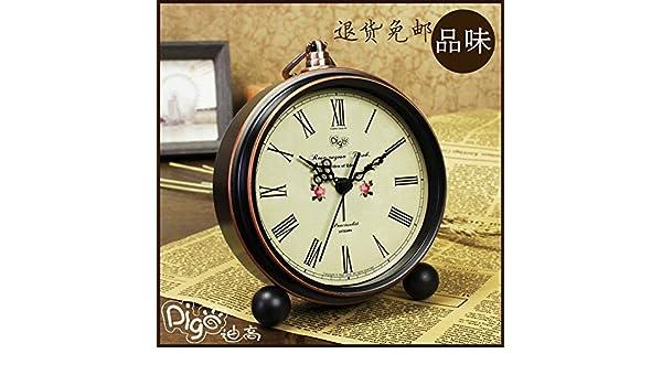 Reloj alarma de cabecera retro metal color silencio creative reloj reloj digital 5 pulgadas dormitorio estudiantil clásico,C: Amazon.es: Hogar