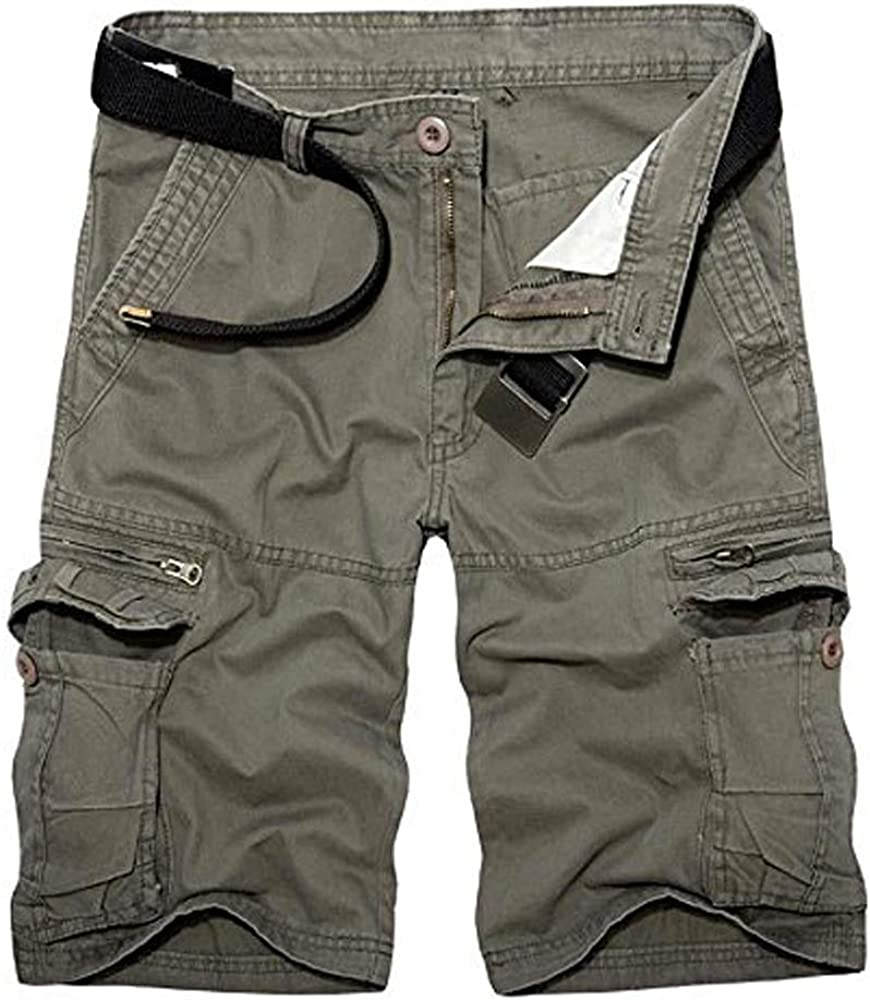AKARMY Men's Lightweight Multi Pocket Casual Cargo Shorts,Outdoor Twill Cotton Camo Shorts with Zipper Pockets with 8 Pockets