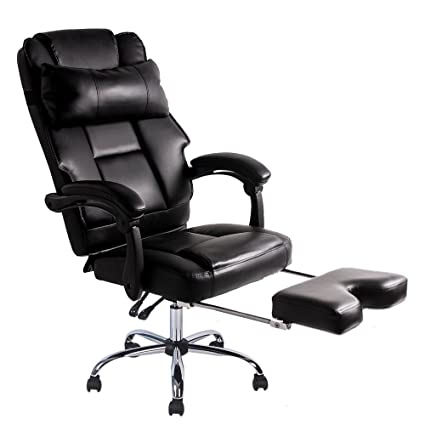 Terrific Btm Luxury High Back Executive Faux Leather Office Chair Swivel Recliner And Footstool Computer Pc Chair Black Aramchair Alphanode Cool Chair Designs And Ideas Alphanodeonline