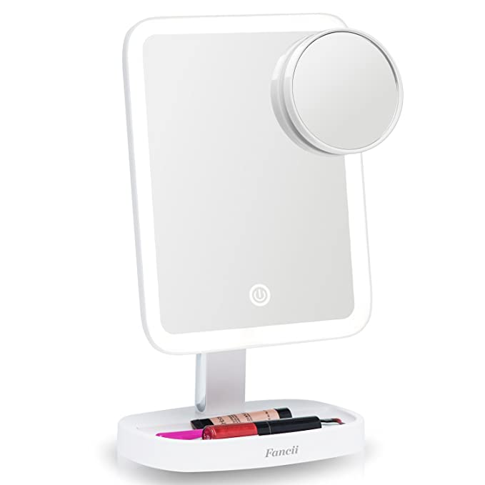 Fancii LED Makeup Vanity Mirror with 3 Light Setting and 15x Magnifying Mirror - Choose Between Soft Warm, Natural Daylight, or Neutral White Lights - Dimmable Countertop Cosmetic Mirror - Aura