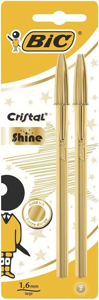 BIC Cristal Shine Con Tinta Dorada y Punta Ancha (1,6 mm) – Oro, Blíster de 2 unidades
