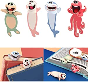Wacky Pals Bookmarks Ocean Series Cute Book Marks Funny Gifts for Kids Students Novelty 3D Squashed Animals (4pcs a Set)