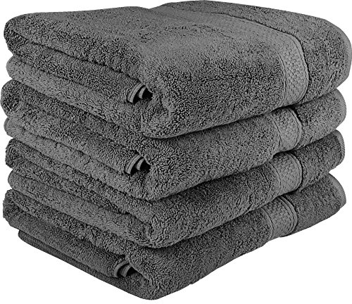 Utopia Towels 700 GSM Premium Bath Towels – 4 Pack Towels – (27 x 54 Inches) – 100% Ring-Spun Cotton Towels for Home, Hotel and Spa – Towels Set with Maximum Softness and High Absorbency, (Grey)