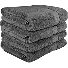 700 GSM Premium Bath Towels Set - Cotton Towels for Hotel and Spa, Maximum Softness and Absorbency by Utopia Towels (4 Pack) (grey)