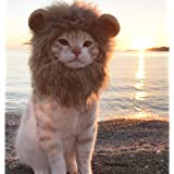 Halloween Lion Mane Wig Costume for Cat Little Dog, Cute Pet Lion Hair Dress Up with Ears for Holiday Photo Shoots Cospaly Pa