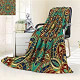AmaPark Digital Printing Blanket with Style Islamic Motifs Oriental Design Red Green Blue Summer Quilt Comforter