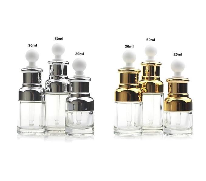 1pcs 30 ml/50 ml cuentagotas botella de aceite esencial de cristal transparente vacía de escala, rellenable, Elite líquido cosméticos Jar Pot Container Vial ...