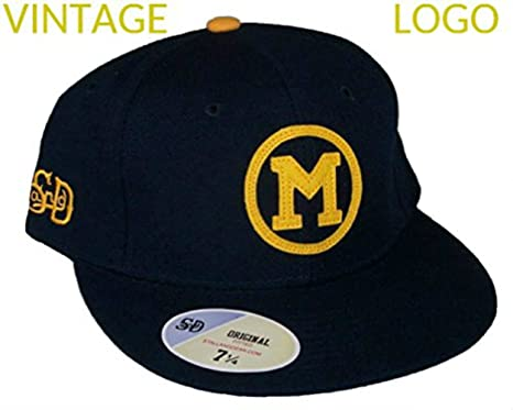 Image Unavailable. Image not available for. Color  Michigan Wolverines  Vintage Logo Fitted Size 7 3 4 Hat Cap ... 5a01b8bd38ad