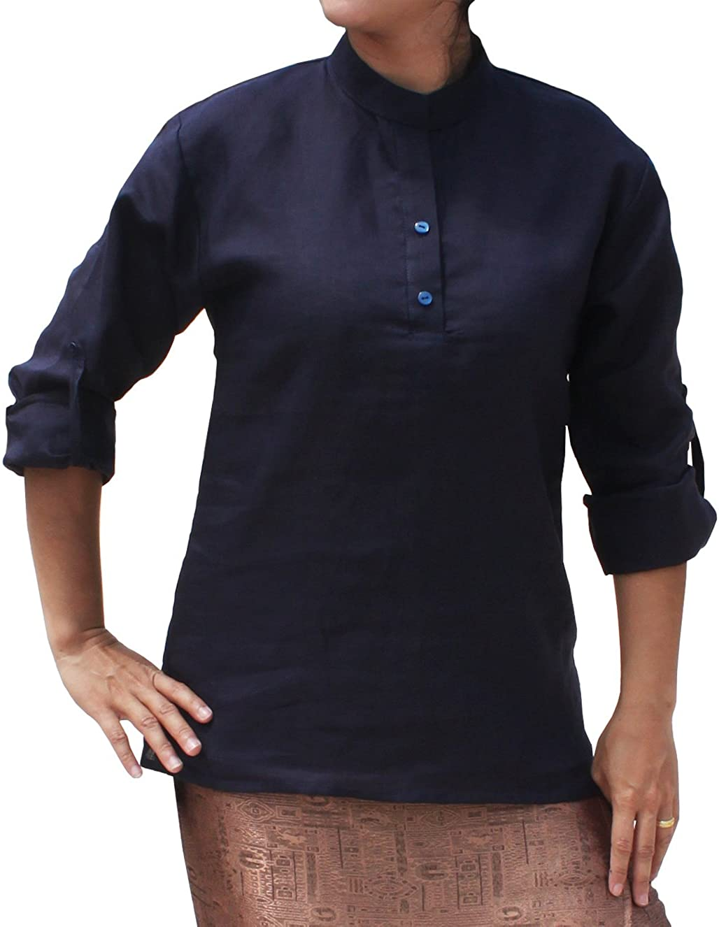 RaanPahMuang Thin Ramy Linen Shirt Professional Collar Button Roll up Sleeve