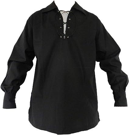 Camisa con Cordones de Escocia Tradicional para Hombre Camisa Escocesa de Jacobite Ghillie Kilt Disfraz de Pirata de Manga Larga Medieval: Amazon.es: Ropa y accesorios