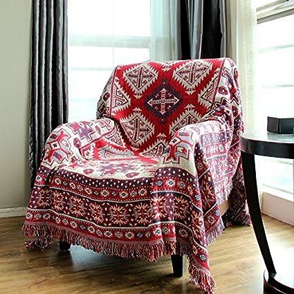 LELVA Bohemian Thread Blanket Woven Throw Blanket Boho Sofa Throws  Multipurpose Blanket (70 X 86