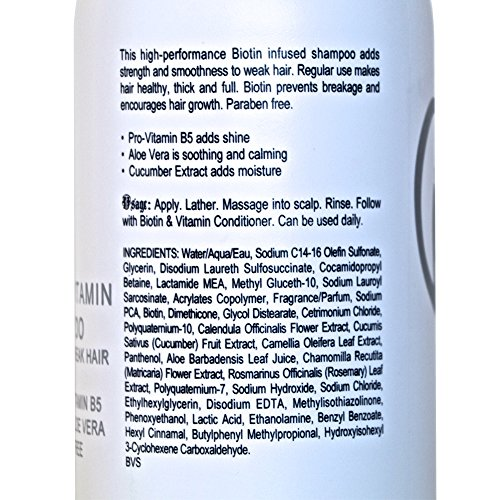 Biotin Hair Growth Shampoo-Biotin Vitamin Shampoo For Hair Loss And Thinning Hair, Sulfate Free Aloe Vera Cucumber Extract With Pro Vitamin B, B. the product 8.5oz. by B THE PRODUCT (Image #5)
