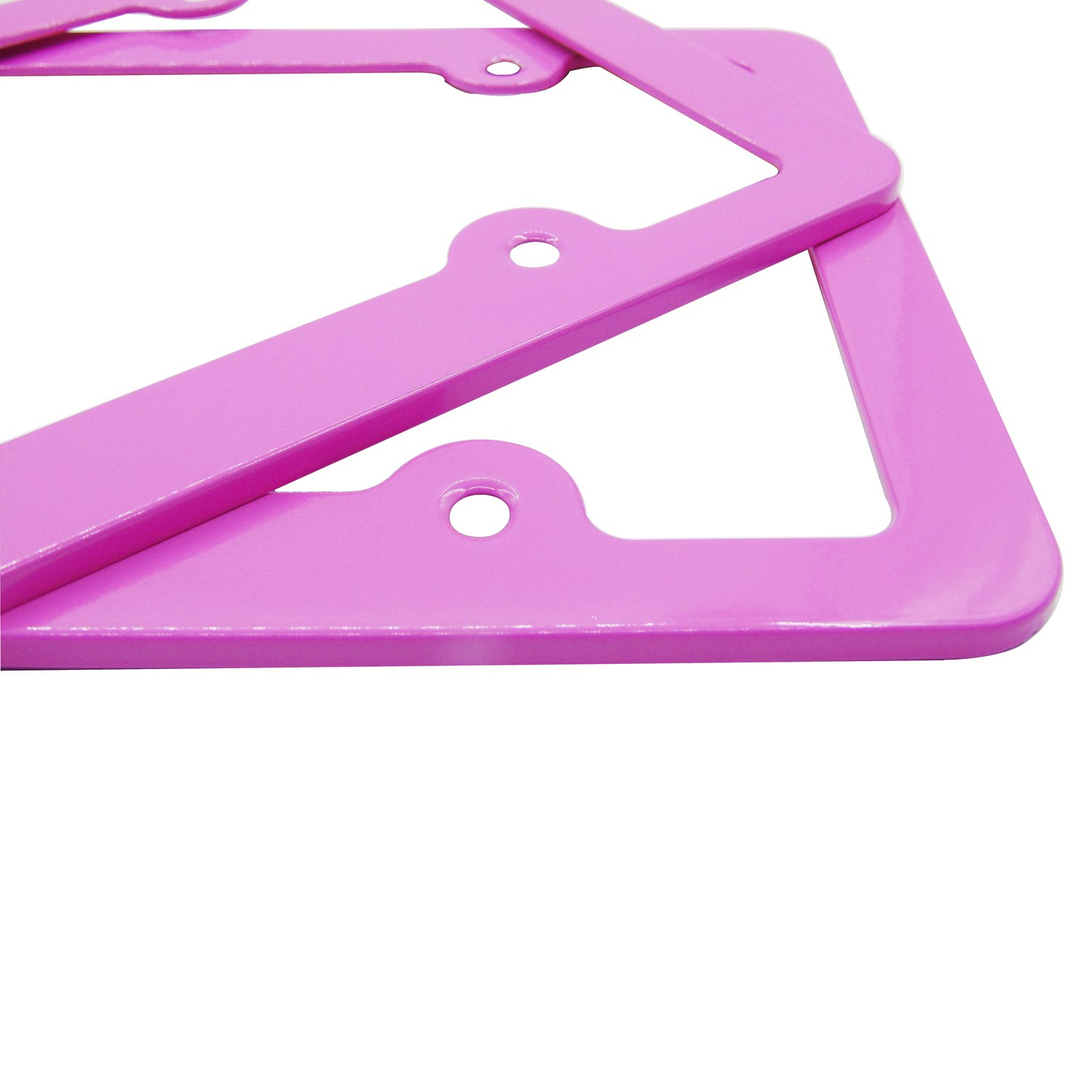 Grosun 2pcs Pink Silm Bottom License Plate Frames with Screw Caps 4 Holes