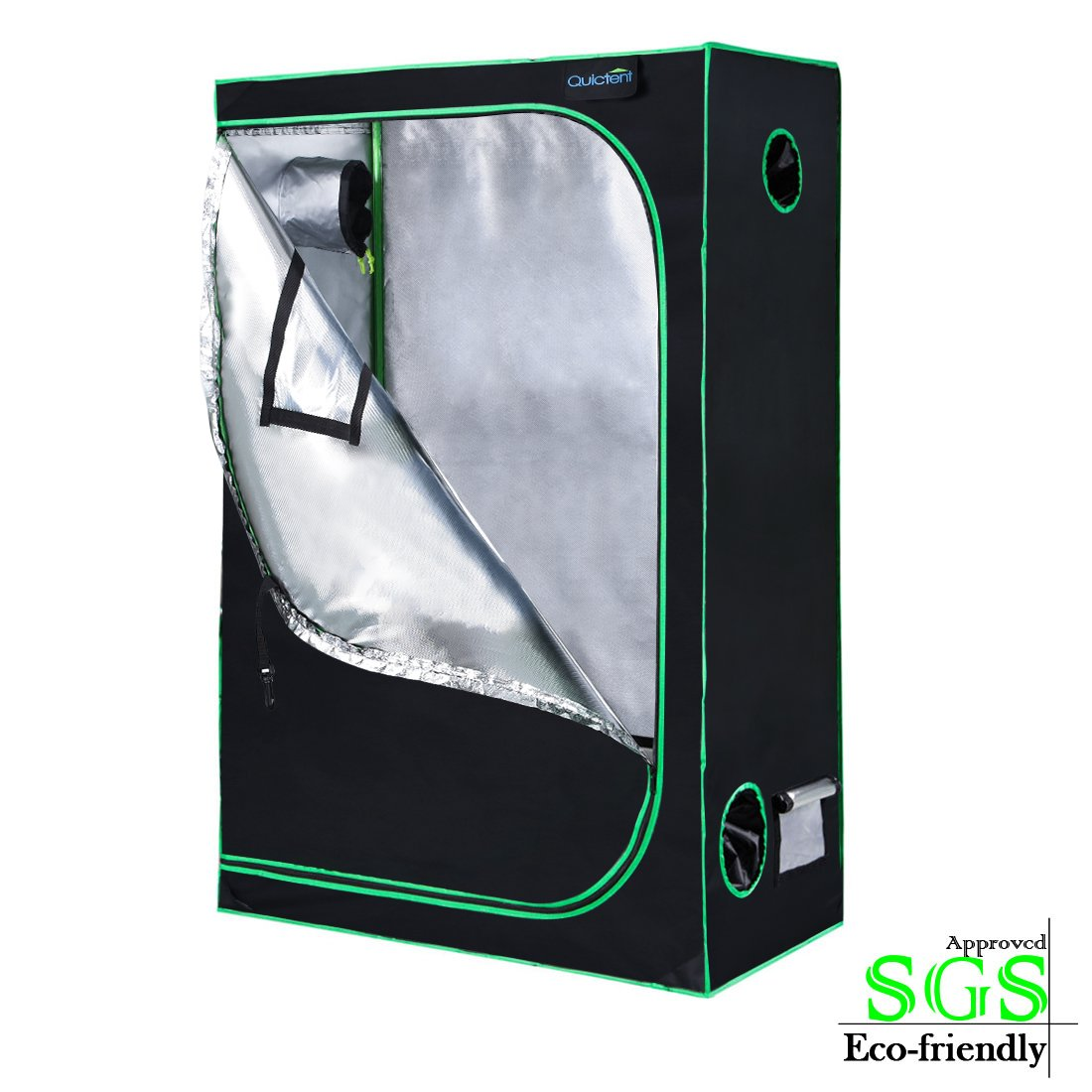 Quictent SGS Approved Eco-friendly 48''x24''x72'' Reflective Mylar Hydroponic Grow Tent with Heavy Duty Anti-burst Zipper and waterproof Floor Tray for Indoor Plant Growing 4'x2'