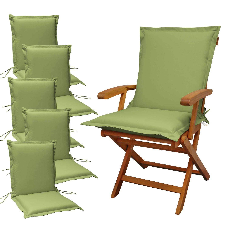 Indoba 6 x Sitzauflage Niederlehner Premium-extra dick Serie Premium-IND-70471-AUNL-6 Polsterauflage Grün
